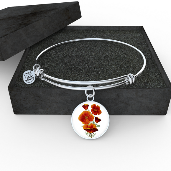Poppies Red, Bangle Bracelet