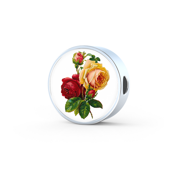 June: Rose Red and Yellow, Round Charm Only
