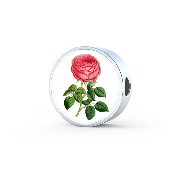 Gemini: Rose Single Dark Pink, Round Charm Only