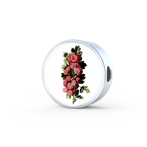 Carnations Deep Pink, Round Charm Only