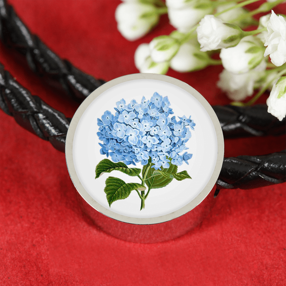 Hydrangeas, Leather Bracelet