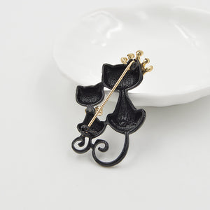 Crown Cat and Kitty Brooch