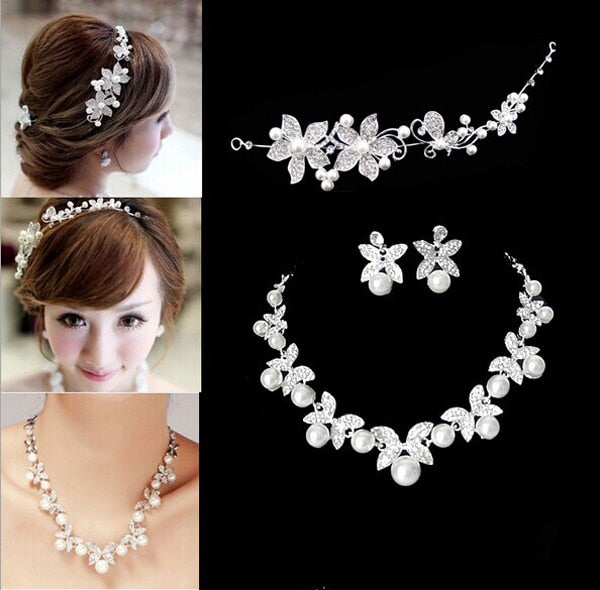 Fashion Design Flower Crystal Pearl Bride 3pcs Set Necklace Earrings Tiara Bridal Wedding Jewelry Set Accessories For Women