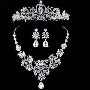 2018 New Silver Crystal Necklace Earrings for Women Wedding Jewelry Sets Whit K Plated Bridal Jewelry Sets With Tiaras & Crowns
