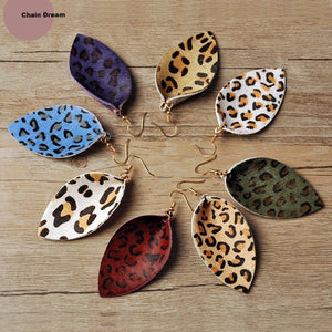 Multicolored Feather Leopard Earrings