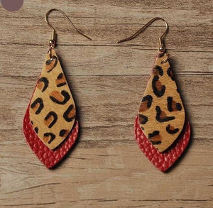 Leopard Feather Earrings