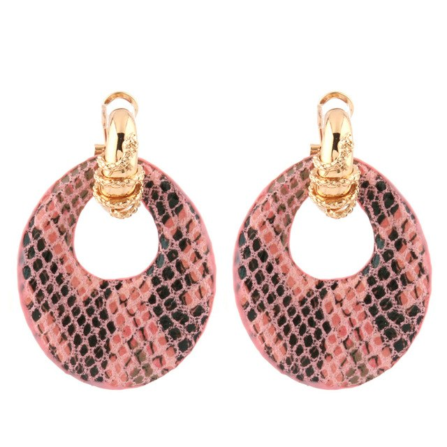 Snake Leather Large Earrings
