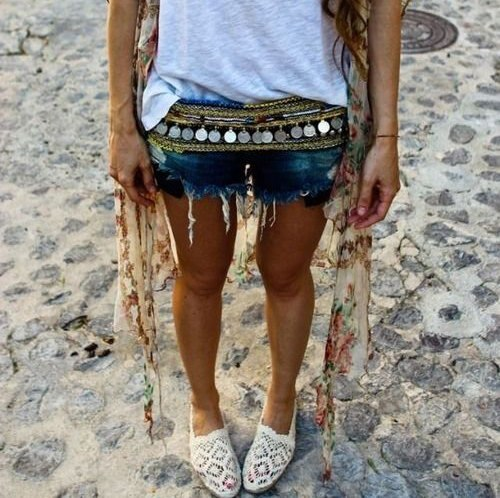 Gypsy Dangle Boho Flower Turkish Shimmy Belt Dance Body Coins Belly Chain