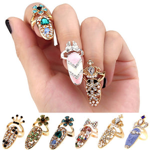 Rhinestone Cute Bowknot Crown Crystal Open Nail Finger Rings Female Personality Fake Nail Art Rings Beauty Jewelry