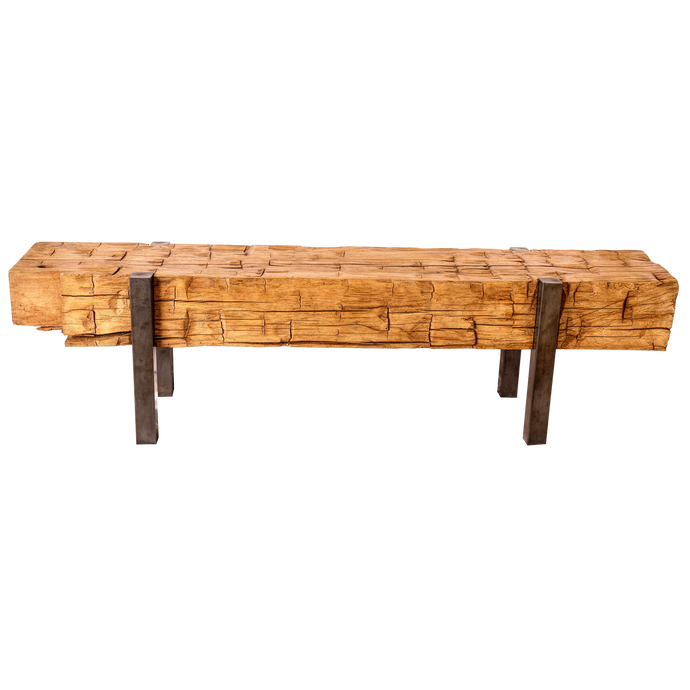 Hand Chinked Beech Wood Bench
