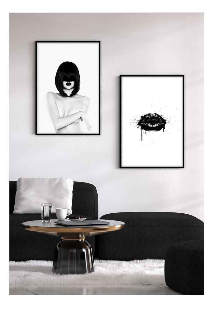 black lips framed art print black and white monochrome  Homeware Furniture Interior Design 2019 Mordern Ideas - Canvas Home Interiors Sydney | Melbourne