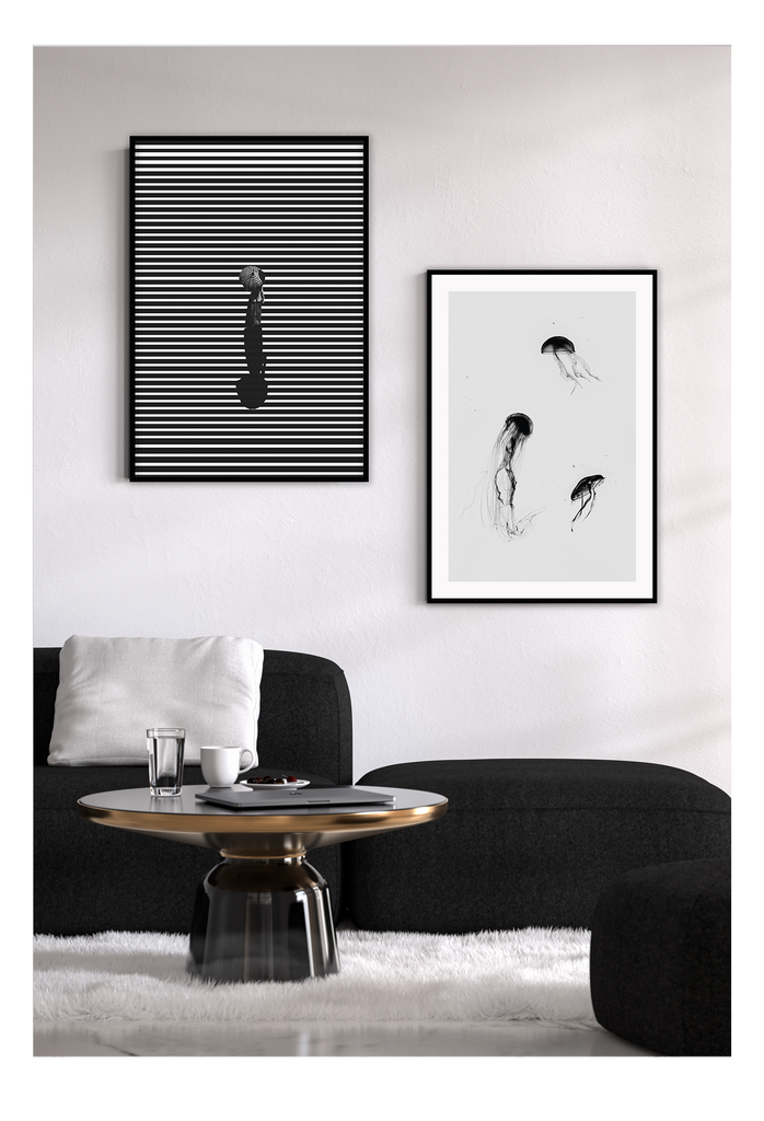 Stripe Stripes Black And White Woman In Hat Walking Print Wall Print Framed Art Poster Image Online Photo Painting Living