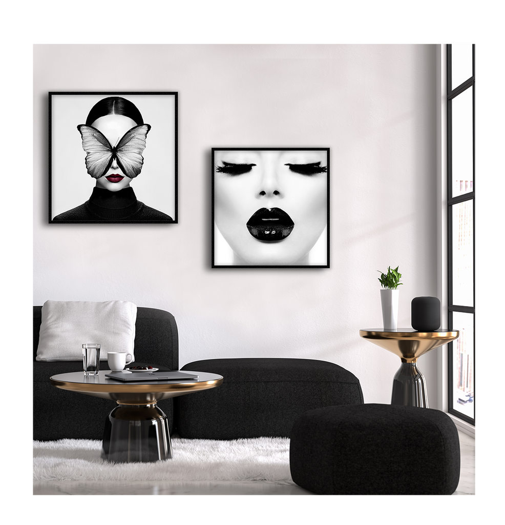 Woman Model Portait Black Lips Black And White Eye Lash Sexy Makeup Makeup Artist Print Wall Print Framed Art Poster Image