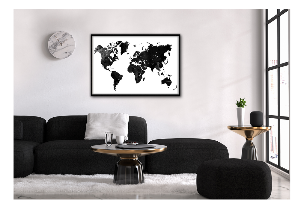 World Map Atlas Black And White Earth Mininalistc  Print Wall Print Framed Art Poster Image Online Photo Painting Living