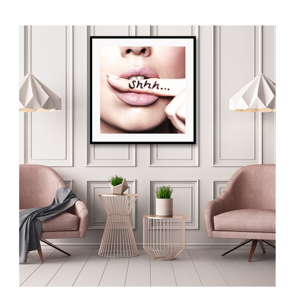 Shhh Woman Lips Finger In Mouth Woman Girl Woman  Print Wall Print Framed Art Poster Image Online Photo Painting Living