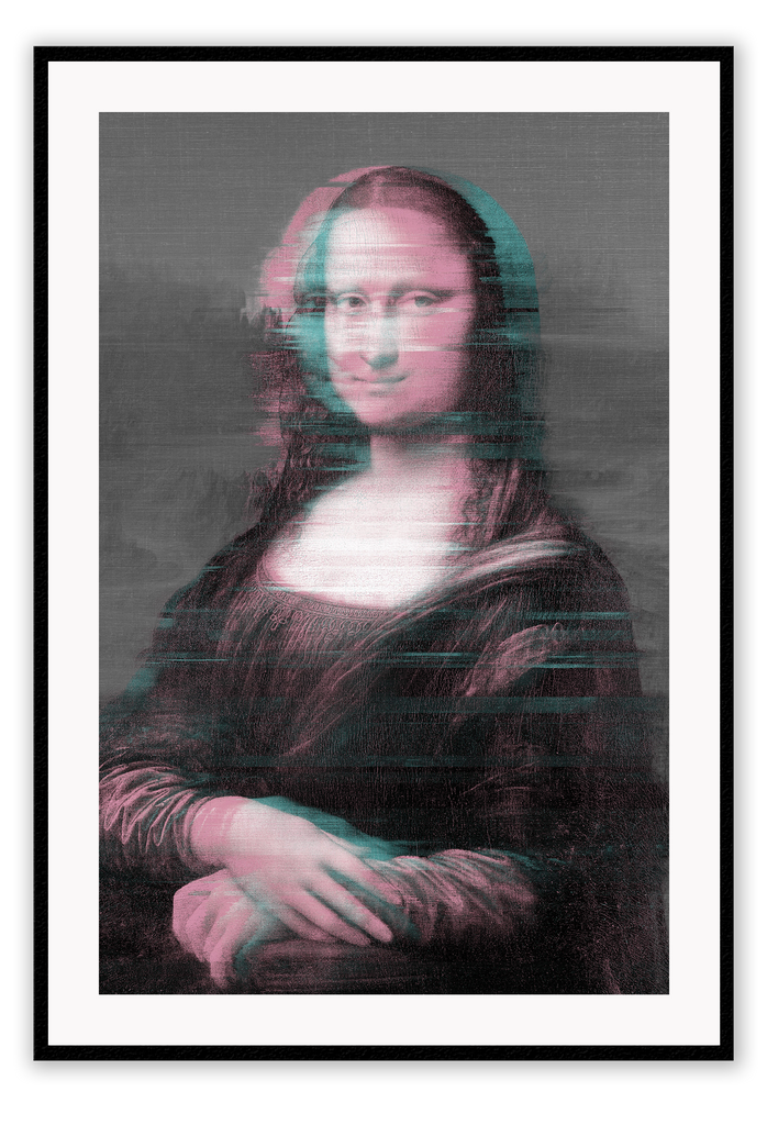 Modern Funky Mona Lisa Film Grain Blue Pink Glitch Glitch Effect Classic Oil Painting Painting Print Wall Print Framed Art