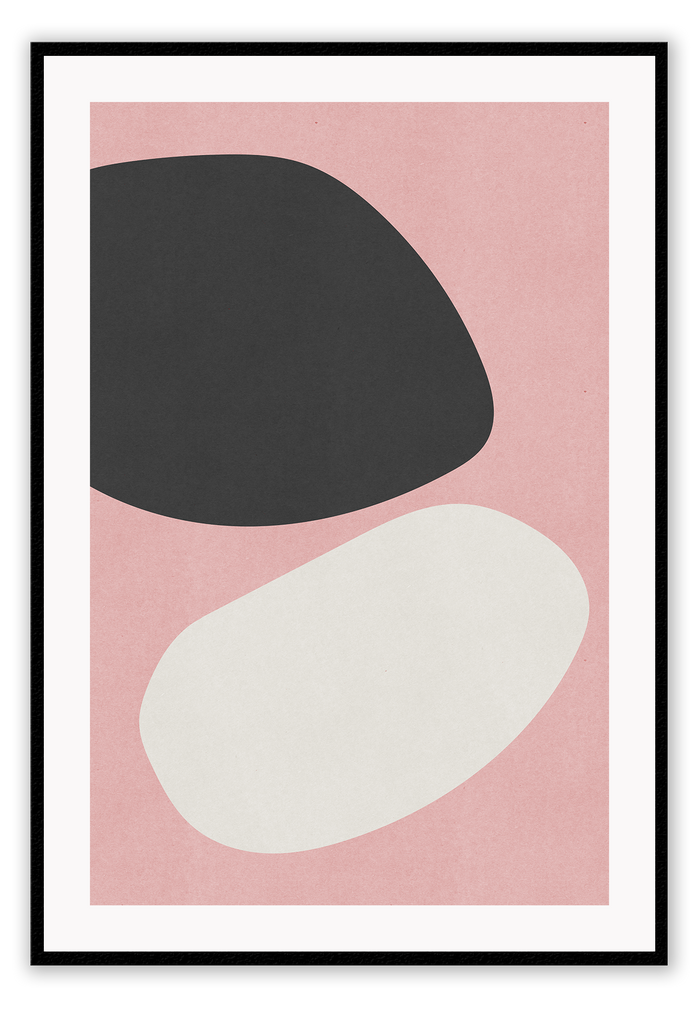 Abstract Black Off-White Curvey Shapes Dusty Pink Print Wall Print Framed Art Poster Image Online Photo Painting Living