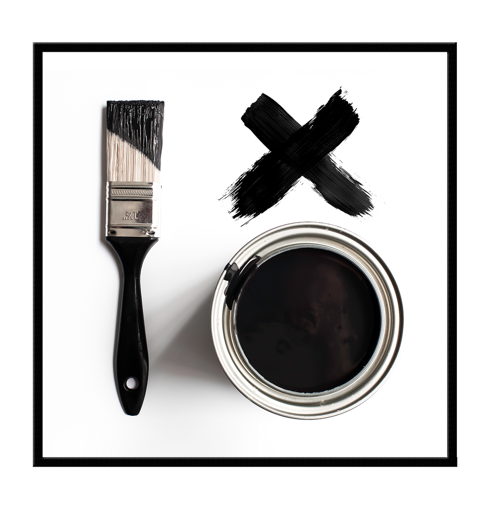 paint black and white x paint brush - canvas home interiors - art wall framed print