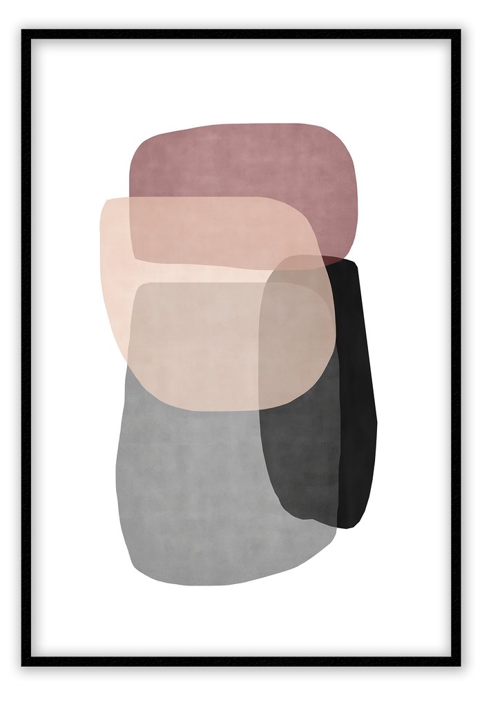 Abstract Dusty Pink Light Pink Black Grey Colour Blocks Print Wall Print Framed Art Poster Image Online Photo Painting Living