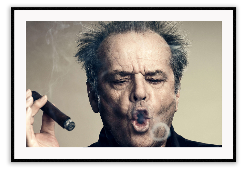 Photo Movie Star Jack Nicholson Smoking Cigar Noir Classic Chinatown Poster By David Lee Guss Cinematic Print Wall Print