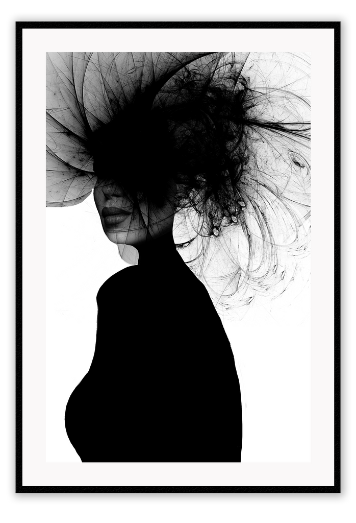 Black And White Fashion Lady Creative Hair Style. Print Wall Print Framed Art Poster Image Online Photo Painting Living