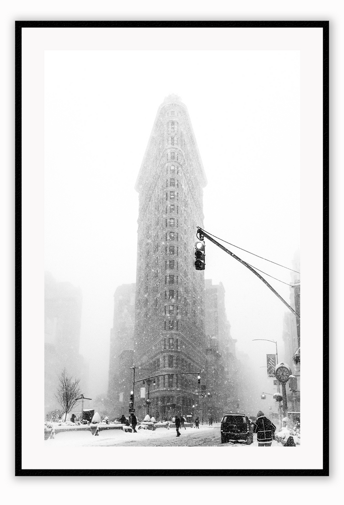 Black And White Urban Snowy City Street Corner Winter Print Wall Print Framed Art Poster Image Online Photo Painting Living