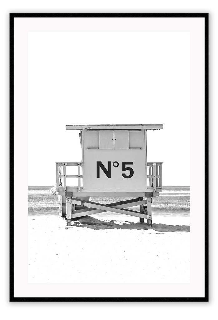Black And White Fashion Chanel N5 Fashion Label Beach Cabin Print Wall Print Framed Art Poster Image Online Photo Painting
