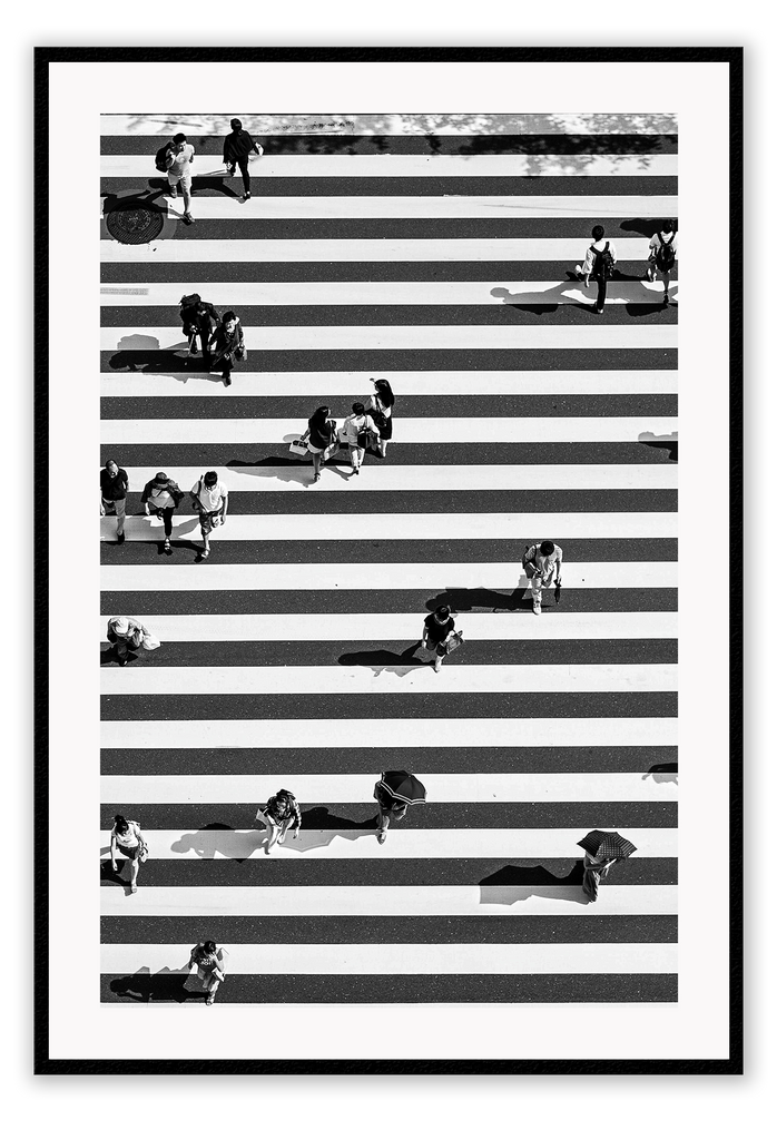 Black And White Urban Aerial View Busy City Street Crossing Zebra Strips Print Wall Print Framed Art Poster Image Online