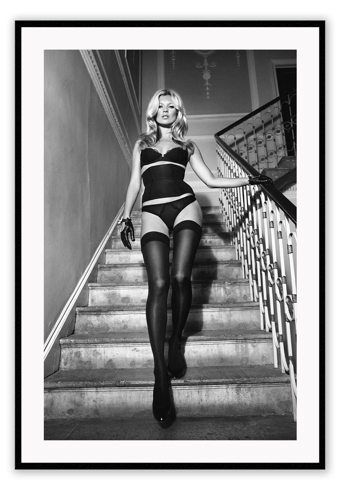 Kate Moss Descending fashion model -  wall art framed print decor