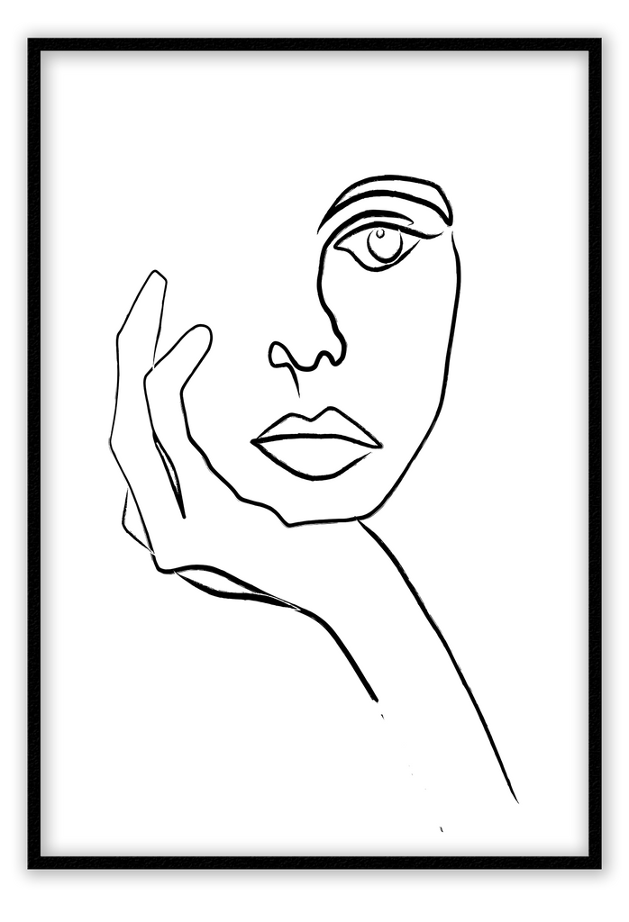 Black And White Sketchy Line Drawing Lady Concentration Thinking Print Wall Print Framed Art Poster Image Online Photo