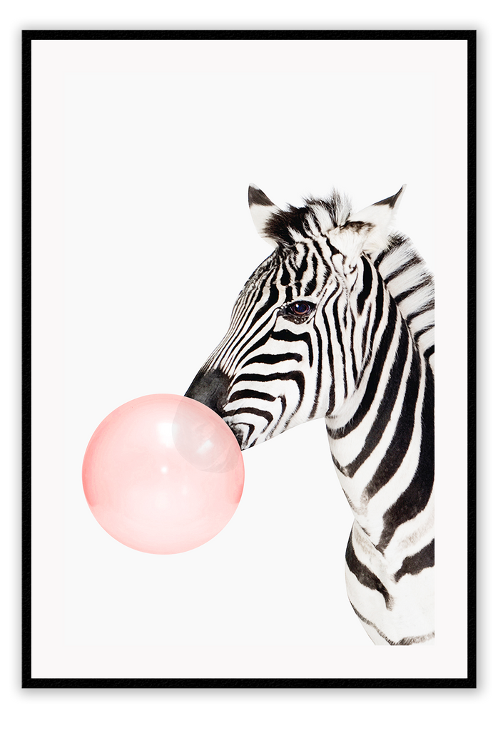 Fashion Zebra Pink Bubble Gum Black And White Print Wall Print Framed Art Poster Image Online Photo Painting Living Lounge