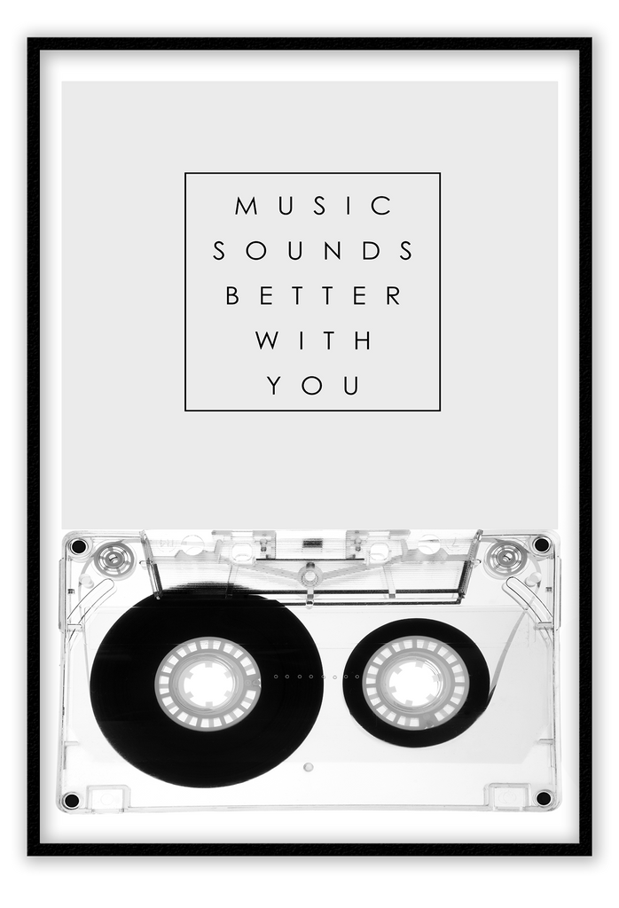 Music Sounds Better With You Cassette 80S Music 90S Music Retro Fashion  Print Wall Print Framed Art Poster Image Online