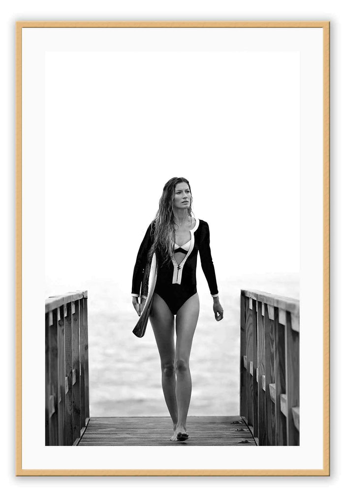 Gisele Bundchen Brazilian Model Coco Chanel Fashion Icon Model Fashionista Beach Surf Print Wall Print Framed Art Poster