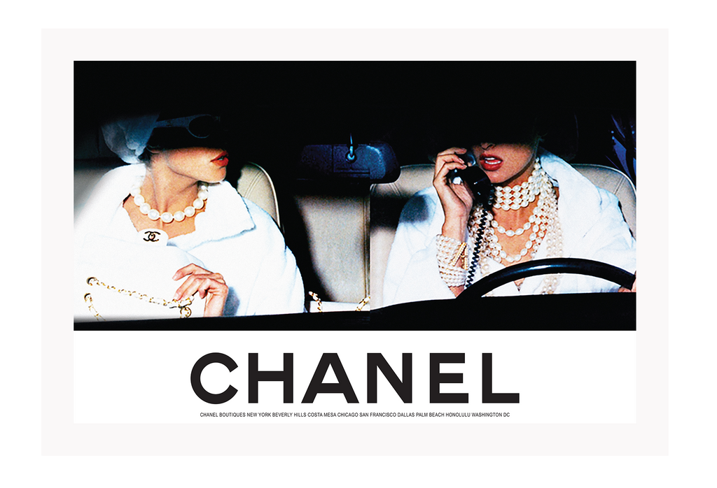 Vintage Fashion Photography 90S Model Linda Evangelista Car Riding Driving Chanel Chanel 90S Billboard Fashion Model Typography