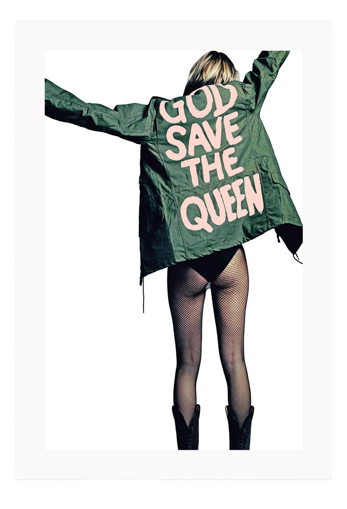 Fashion Sexy Lady Back Half Nude Translucent Leggings Black Boots Green Jacket Pink Writing God Save The Queen Print