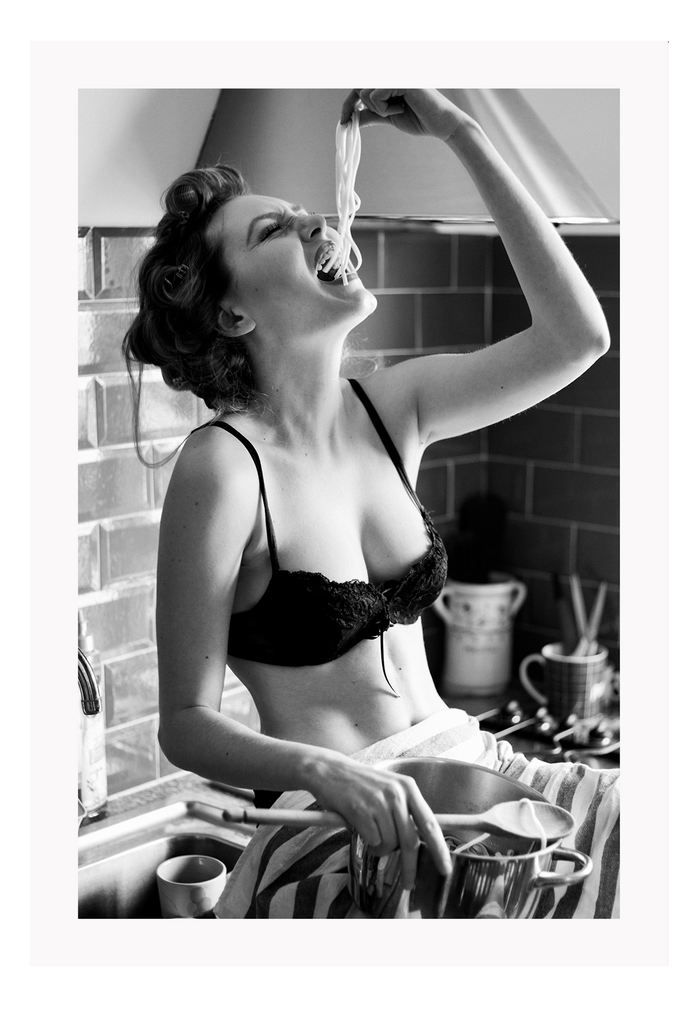Black And White Fashion Sexy Lady Black Lingerie Eating Noodles Kitchen Bench Freedom Print Wall Print Framed Art Poster