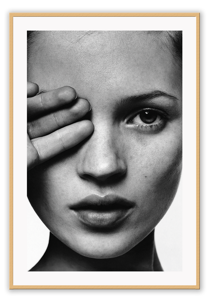 Kate Moss Covered Eye One Eye Black And White Iconic Model 90S Model Fashion Fashion Model  Print Wall Print Framed Art