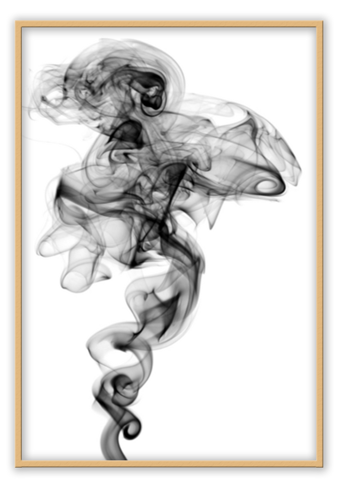 Smoky Balck And White White Background Black Smoke Abstract Brush Painting Distanced Dreamy Claming Mysterious  Print