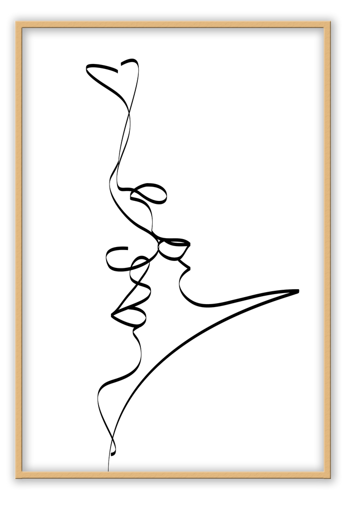 Abstract Black Line Drawing Kissing Love Scenario White Background Black And White Print Wall Print Framed Art Poster Image