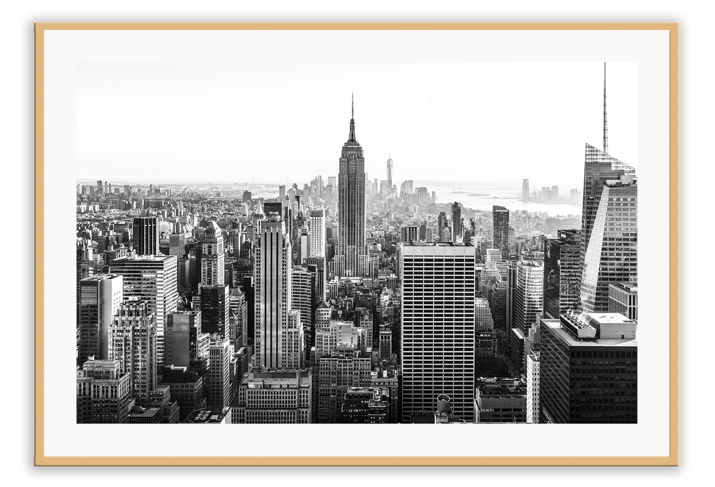 New York City Skyscrapers Sky Line Buildings Highrise Black And White Manhattan Print Wall Print Framed Art Poster Image
