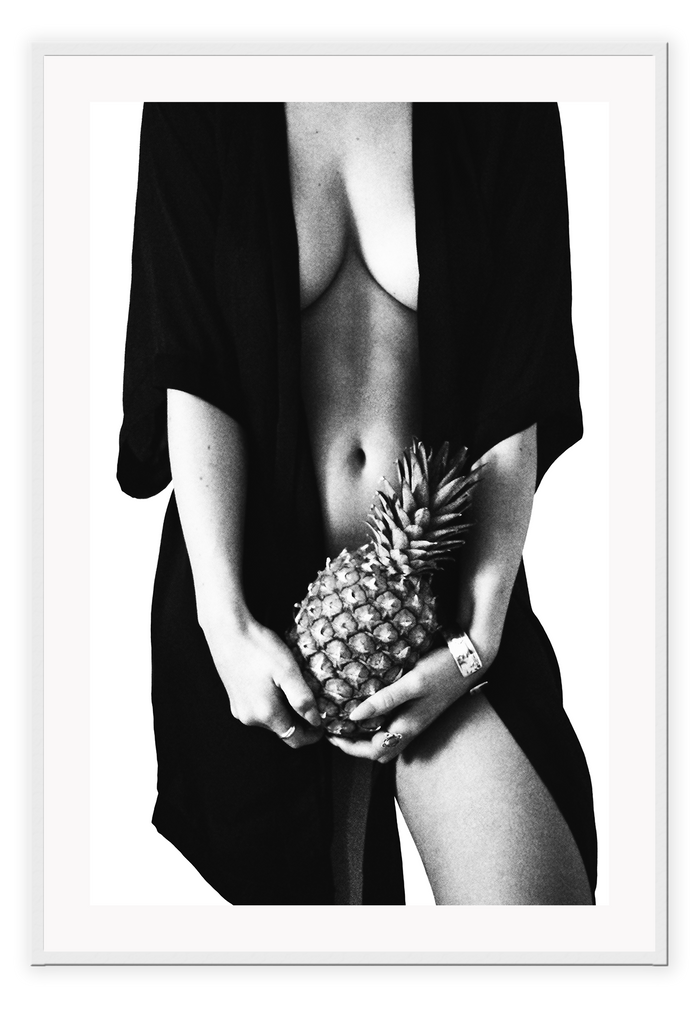 Black And White Fashion Sexy Nude Lady Pineapple Print Wall Print Framed Art Poster Image Online Photo Painting Living Lounge