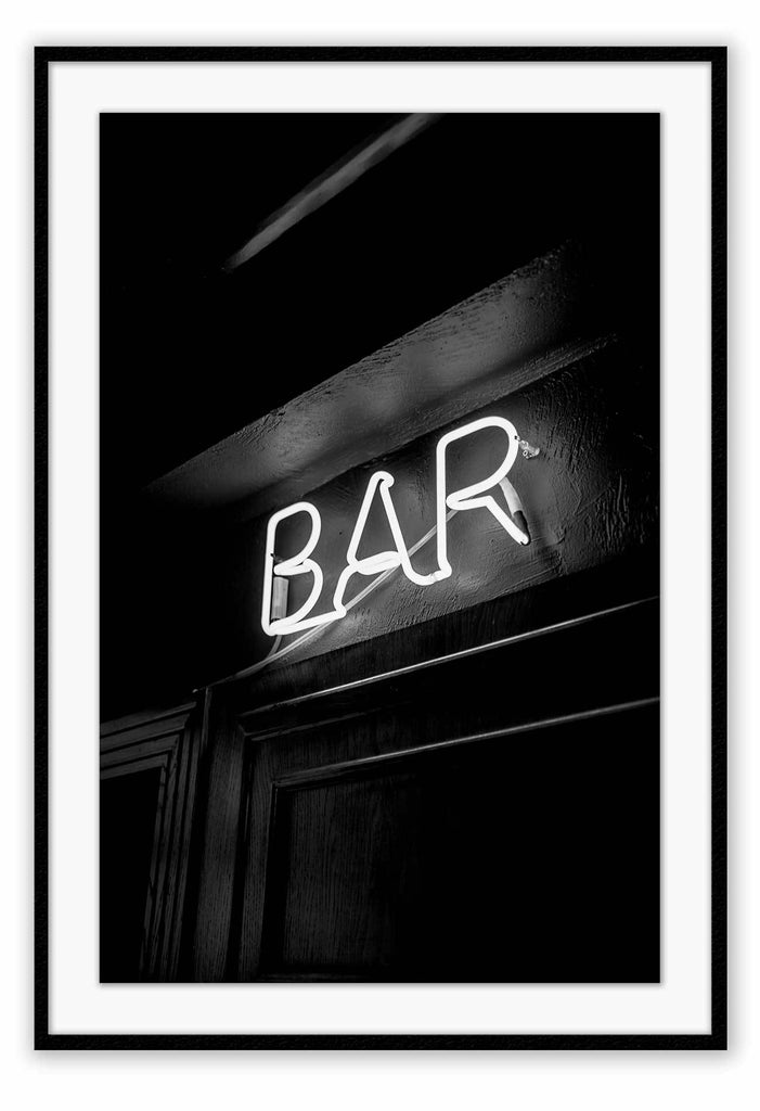 Neon Bar Typography Black And White Simple Bar Sign Print Wall Print Framed Art Poster Image Online Photo Painting Living