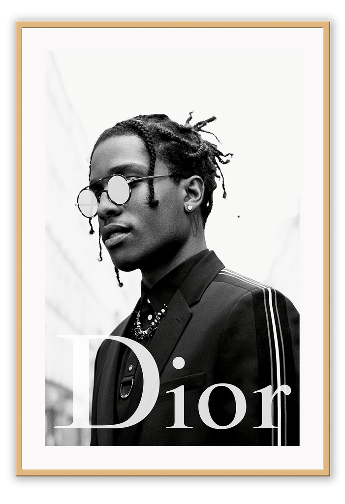 Black And White Fashionthe New Face Of Dior Homme Asap Rocky Dior Dior Designer Luxury Fancy Model Photography Print