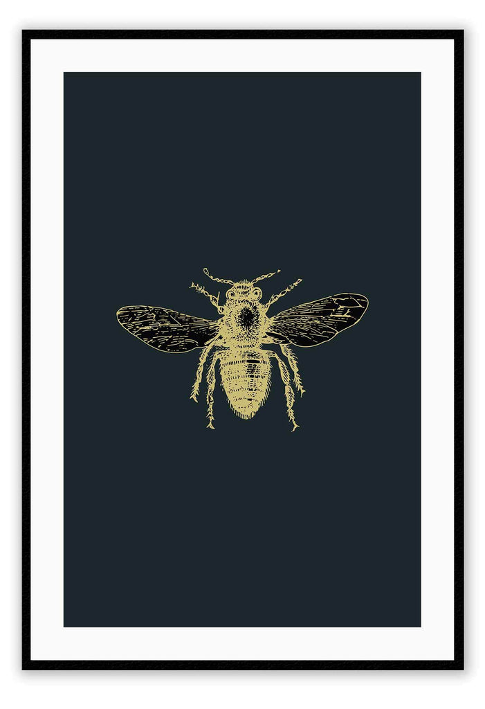 Bee Insect Gold Brass Nature  Print Wall Print Framed Art Poster Image Online Photo Painting Living Lounge Bedroom Room