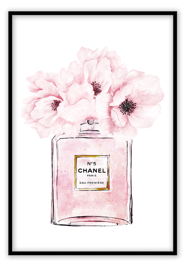 N5 Chanel Paris Perfume Bottle Pink Pink Flowers Pink Bottle Fashion Fashionista Floral Flower Blush Print Wall Print