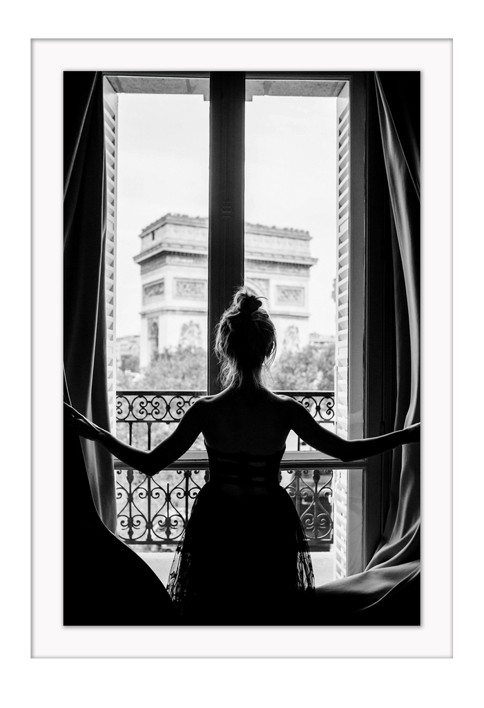 Paris Parisian Architecture Woman Black And White Balcony Arc De Triomphe Girl Urban Print Wall Print Framed Art Poster Image