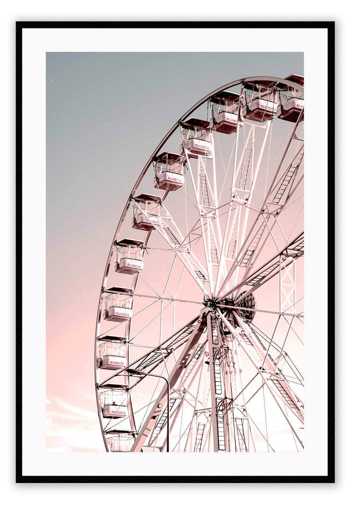Pink Ferris Wheel Pink Sky Kids Nursery  Print Wall Print Framed Art Poster Image Online Photo Painting Living Lounge Bedroom