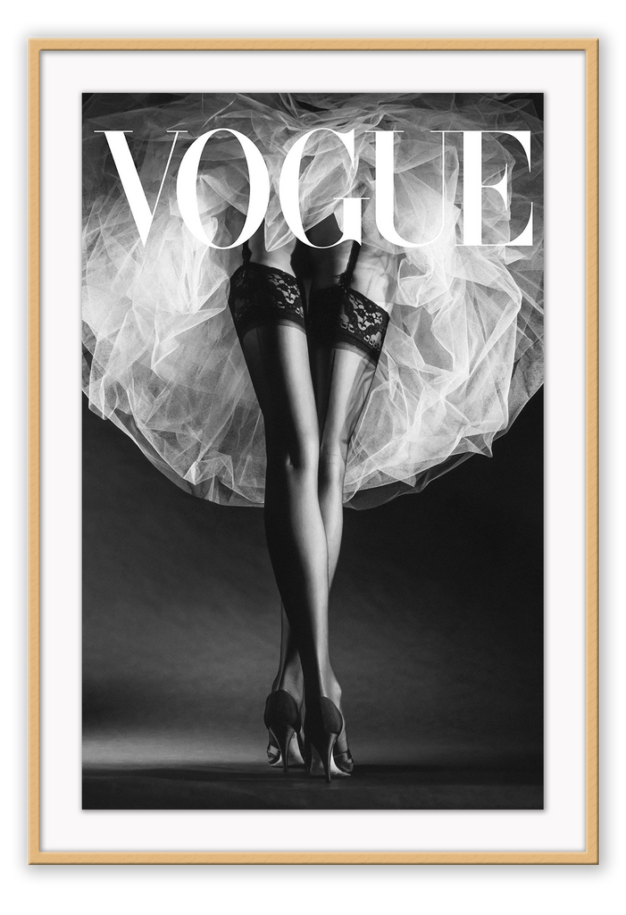 Black And White Tulle Legs Vogue Fashion Legs Sexy Model Woman Sexy Coco Chanel  Print Wall Print Framed Art Poster Image