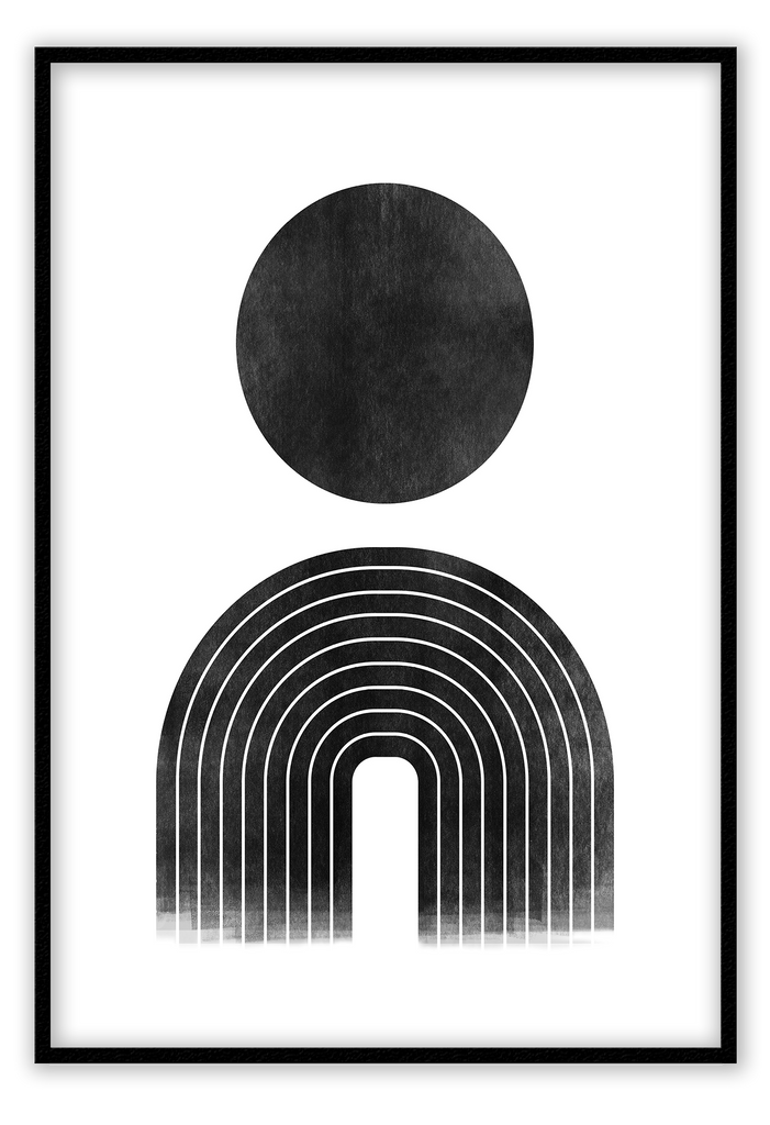 Abstract Black And White Circle Drawing Print Wall Print Framed Art Poster Image Online Photo Painting Living Lounge Bedroom