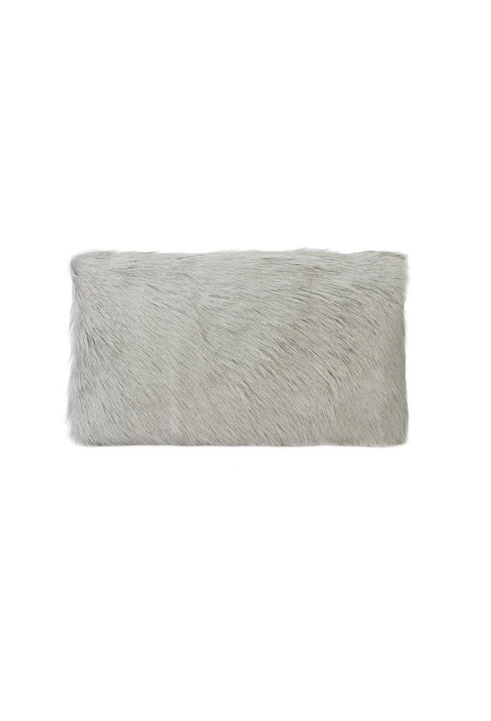 Goat Fur Lumbar Cushion - Grey